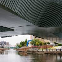 The underside of the cross-shaped Clover Bridge in Koto Ward. | ROB GILHOOLY