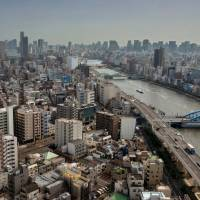 The Sumida River, as seen from the Asahi Beer Hall in Tokyo's Asakusa district. | ROB GILHOOLY
