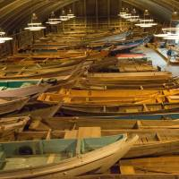What a fleet: A collection of fishing vessels greets visitors to the Repository of Wooden Boats at the Toba Sea Folk Museum in Toba, Ise-Shima, Mie Prefecture. | STEPHEN MANSFIELD