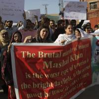Activists protest on April 14 in Peshawar, Pakistan, a day after university student Mashal Khan was falsely accused of posting blasphemous content online and lynched. | AP