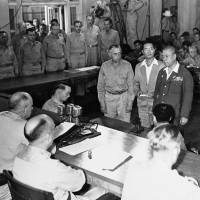 Fast-track justice: Lt. Gen. Tomoyuki Yamashita (second from right), Imperial Japan's governor in the occupied Philippines during the last years of World War II, is sentenced to death by the U.S.  military commission in Manila on Dec. 7, 1945. Yamashita was judged to have had 'command responsibility' for atrocities committed on his watch, a decision the U.S. Supreme Court backed two months later. | AP