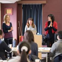 Left to right: Speech disfluency specialist Brenda Carey, speech pathologist Elaine Yandeau and Eliza Kumamoto, bilingual counselor at Yokohama International School, present a Lidcombe Program speech therapy workshop  at YIS in 2016. | COURTESY OF YIS