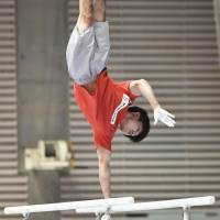 Gymnastics legend Kohei Uchimura works out on Thursday in preparation for the national individual all-around championships. | KYODO