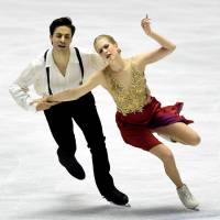 Canada's Kaitlyn Weaver and Andrew Poje perform their free dance routine at the World Team Trophy on Friday. They won the event with 113.83 points. | AFP-JIJI