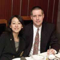 Mao Asada and Jack Gallagher at a Foreign Sportswriters Association of Japan meeting in Tokyo on Jan. 31, 2006. Mao, who was 15 at the time, was being honored as Japan's top athlete for 2005.   YOSHIAKI MIURA
