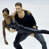 France's Vanessa James (left) and Morgan Cipres compete during the pairs free skate. They won the event with 146.87 points. | AFP-JIJI