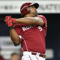 Carlos Peguero has three home runs and 10 RBIs in the Eagles' first eight games.   KYODO