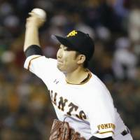 Giants starter Tomoyuki Sugano allowed only three hits in seven scoreless innings in Tuesday's game against the Swallows in Kumamoto. Yomiuri defeated Tokyo Yakult 3-0. | KYODO