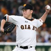Giants reliever Tetsuya Yamaguchi tossed one scoreless inning and picked up his first win of the season on Saturday.   KYODO