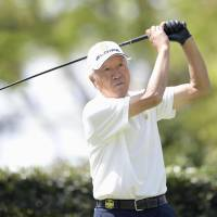 Isao Aoki plays in the first round of The Crowns at Nagoya Golf Club on Thursday. He shot 15-over par. | KYODO