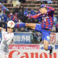 Eder Lima scores Ventforet Kofu's second goal in their 2-0 win over Consadole Sapporo in the J. League on Sunday. | KYODO