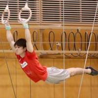 Kohei Uchimura works the rings during his practice on Wednesday at the National Training Center. | KAZ NAGATSUKA