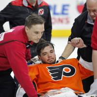 Flyers win after goalie collapses