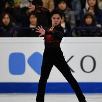 Silver medalist Shoma Uno performs during the men's free skate on Saturday in Helsinki.   AFP-JIJI