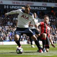 Spurs striker Vincent Jansson scores during their 4-0 win over Bournemouth on Saturday. | REUTERS