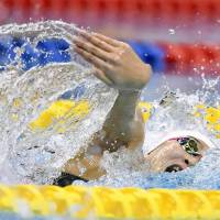 Rikako Ikee swims to victory in the women's 100-meter freestyle at the national championships on Saturday in Nagoya. Ikee completed the race in 53.83 seconds.   KYODO