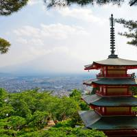 Mount Fuji can be seen in the background of the Chureito pagoda. | ISTOCK