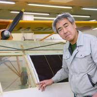 Satoru Shinohe, president of Olympos, a small aircraft-maker known for its unique products, is pictured at his company's base in western Tokyo last month. | KYODO