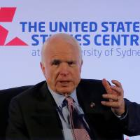 U.S. Sen. John McCain speaks at a United States Studies Centre event in Sydney Tuesday. | REUTERS