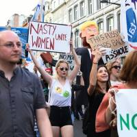 Thousands in 'hellhole' Brussels turn out to protest Trump visit