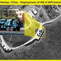 HQ-9 surface-to-air missiles are seen deployed to China's Hainan Island in the northern part of the South China Sea in satellite imagery taken May 8. | ISI / VIA KYODO