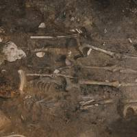 The two skeletons found at the Moon Castle, in Gyeongju, South Korea, are the first evidence of human sacrifice to ensure the success of construction projects in ancient Korea.   AFP-JIJI