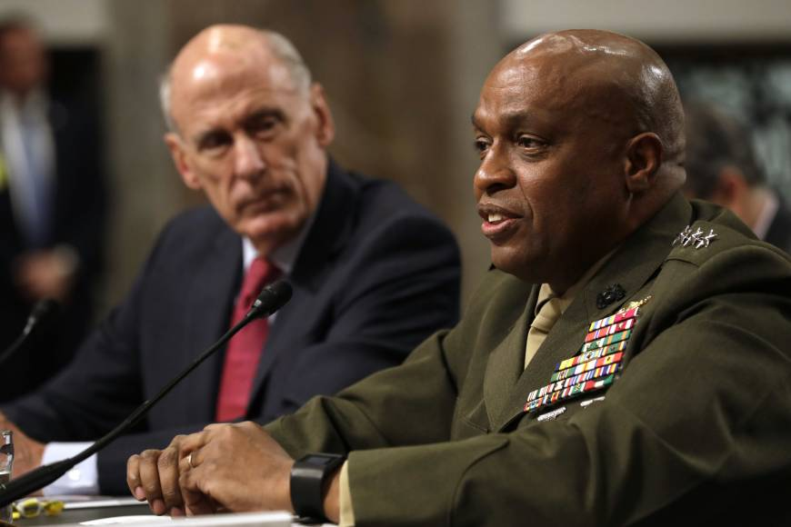 Defense Intelligence Agency Director Lt. Gen. Vincent Stewart, accompanied by Director of National Intelligence Dan Coats, testifies on Capitol Hill in Washington Tuesday before the Senate Armed Services Committee hearing on worldwide threats. | AP
