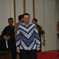Jakarta's first non-Muslim governor and Chinese-ethnic minority, Basuki Tjahaja Purnama, better known as Ahok, arrives at court for his verdict in Jakarta on Tuesday. | REUTERS