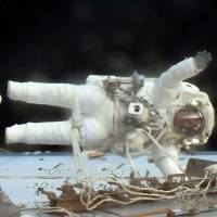U.S. astronauts declare 'victory' on critical spacewalk to replace power box