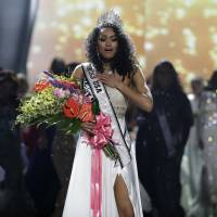Miss District of Columbia USA Kara McCullough reacts after she was crowned the new Miss USA during the contest Sunday in Las Vegas. | AP