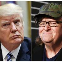 This combination photo shows President Donald Trump (left) at the White House in Washington on March 13 and filmmaker Michael Moore at the 20th Annual Webby Awards in New York on Tuesday. Moore has been secretly making a Trump documentary that he has dubbed 'Fahrenheit 11/9,' titling it after the day Trump became president-elect. Harvey and Bob Weinstein announced Tuesday they have secured worldwide rights to the film. | AP PHOTO/PABLO MARTINEZ MONSIVAIS (LEFT) AND ANDY KROPA / INVISION / VIA AP, FILE