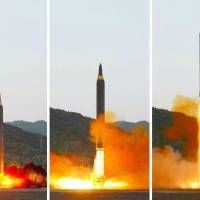 A new intermediate-range North Korean missile, referred to as the Hwasong-12, is seen during a launch Sunday in these photos taken from the front page of the Monday edition of the North's official Rodong Sinmun daily. | KYODO