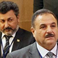 Members of the rebel delegation Ahmed Beri (right), chief of staff of the Free Syrian Army, and Ahmed Othman, commander of Sultan Murad group, attend the fourth round of Syria peace talks in Astana on Thursday. | AFP-JIJI
