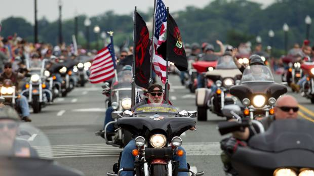 Tens of thousands of bikers thunder through Washington in annual tribute to vets, war dead