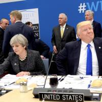 Trump scolds NATO, declines to endorse pact, vows to go after leaks after U.K. police intel snub