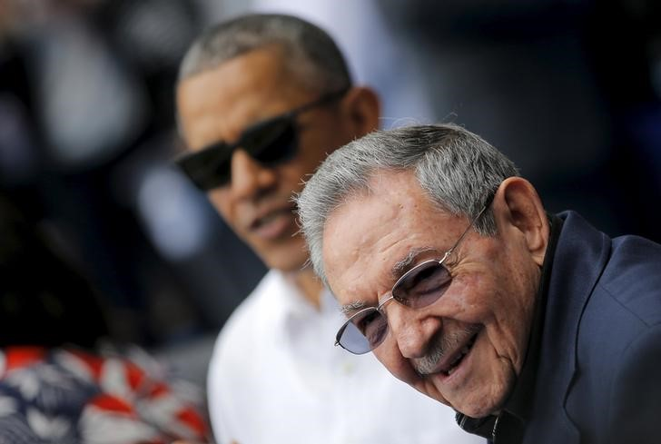Trump administrations policy review on cuba near completion then us president barack obama and cuban leader raul castro arrive at estadio latinoamericano in publicscrutiny Images