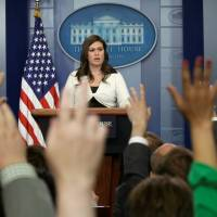 White House spokeswoman Sarah Huckabee Sanders holds a news briefing at the White House in Washington Thursday. | REUTERS