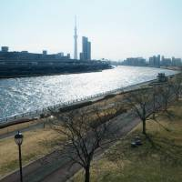 The Sumida River is shown in Tokyo in February. To better prepare for next big earthquake, experts said Japan needs to build more river and coastal dikes. | KYODO