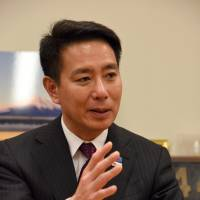 Veteran Democratic Party lawmaker Seiji Maehara says during an interview in Tokyo on April 20 that he feels deeply responsible for how his party failed to live up to expectations while it had been in power from 2009 to 2012. | SATOKO KAWASAKI