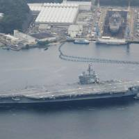 A joint exercise by the Maritime Self-Defense Force and the USS Ronald Reagan aircraft carrier is being arranged following the repeated test-firing of ballistic missiles by North Korea. | KYODO