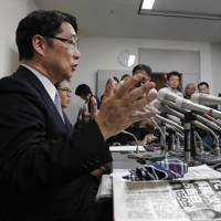 Former vice education minister Kihei Maekawa speaks at a news conference Thursday about documents concerning a scandal surrounding the government approval of a new veterinary department at a university run by Kake Gakuen. | KYODO