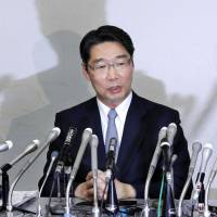Former vice education minister Kihei Maekawa speaks at a news conference in Tokyo on Thursday. | KYODO