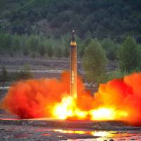 A long-range Hwasong-12 (Mars-12) rocket is launched during a test in this undated photo released by North Korea's Korean Central News Agency (KCNA) on May 15. | REUTERS