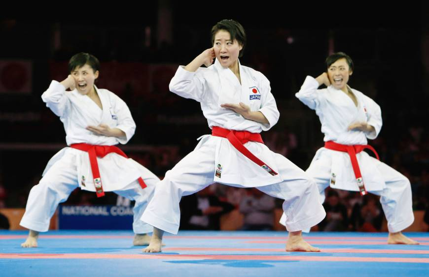 Hikaru Ono (center) and teammates perform in the 2016 World Senior Championships in female team kata in Linz, Austria in October. Her team won the gold medal. | KYODO