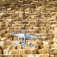 A drone takes photos of the Great Pyramid of Giza in February. | TV MAN UNION INC. / VIA KYODO