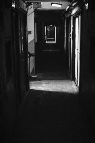 The hallways of the Uenoshita apartments were in use for more than eight decades.