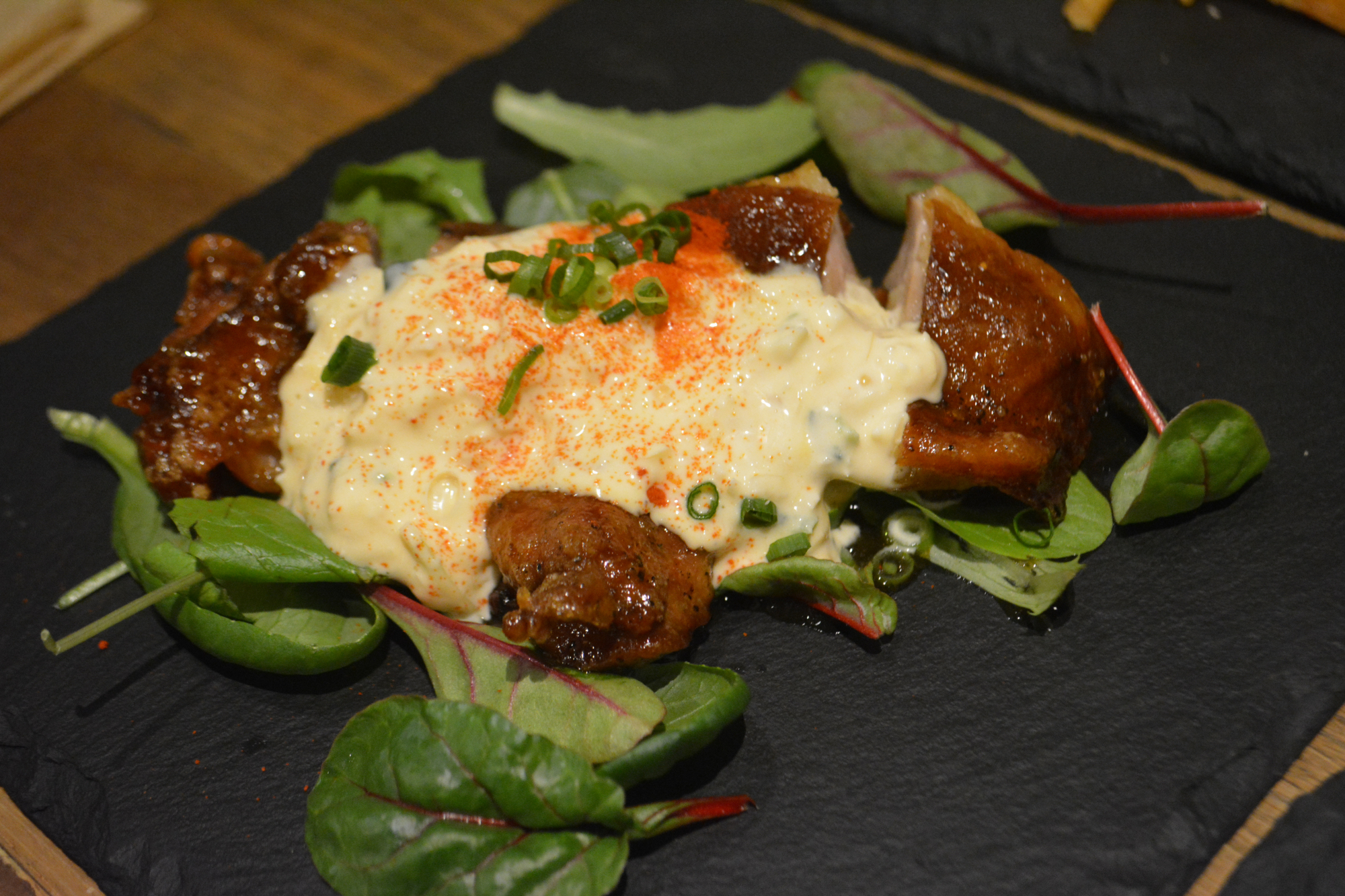 Chicken nanban with a twist: This dish comes thoroughly smoked and topped with tartar sause. | J.J. O'DONOGHUE