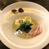 Brave noodle world: Mensho's seafood ramen, served with chicken slices, tuna wonton, scallops and bottarga.  | ROBBIE SWINNERTON