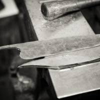 Blades are seen at various stages of the forging process at Murray Carter's forge in Portland.   CHRISTINA SJOGREN