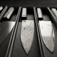 Hard edge: Japanese-style kitchen knives made of a high-carbon steel core laminated with a softer outer steel sit on display at the Carter Cutlery forge in Portland, Oregon. Most of the firm's sales are made online.   CHRISTINA SJOGREN